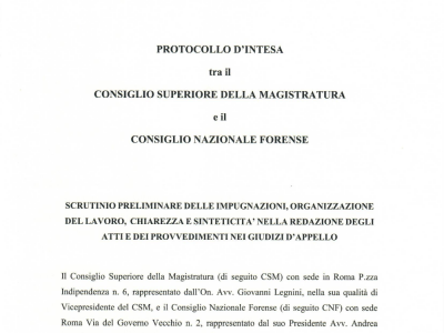 Protocollo d'intesa per la redazione di atti nei giudizi di appello